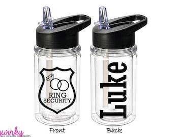 Ring Security Bottle - Ring security gift, Personalized Kids Water Bottle, Ring Bearer Bottle, Ring Bearer Gift, Jr Groomsmen Gift (BT0001)