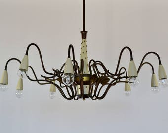 Italian Mid-Century modern Spider Brass Chandelier, Sputnik chandelier,  1950s