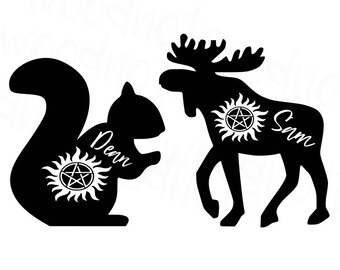 Supernatural SVG Sam and Dean Winchester Moose and Squirrel SVG Cut File Digital Download