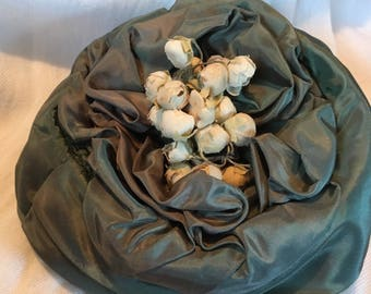 Vintage green pillbox hat with paper flower buds