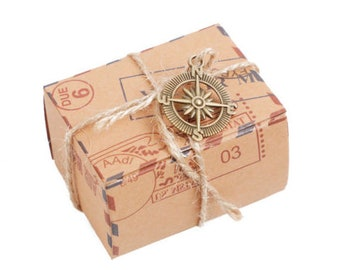Brown Kraft Postcard With Compass Pendant Raffia Paper Wedding Party Favor Candy Boxes Baby Shower Baptismal Birthday