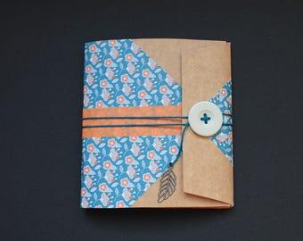 notebook handmade teal and orange