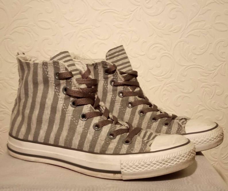 9e5b107bd59e Converse Two-tone Grey Striped High Top All Star UK Size 5