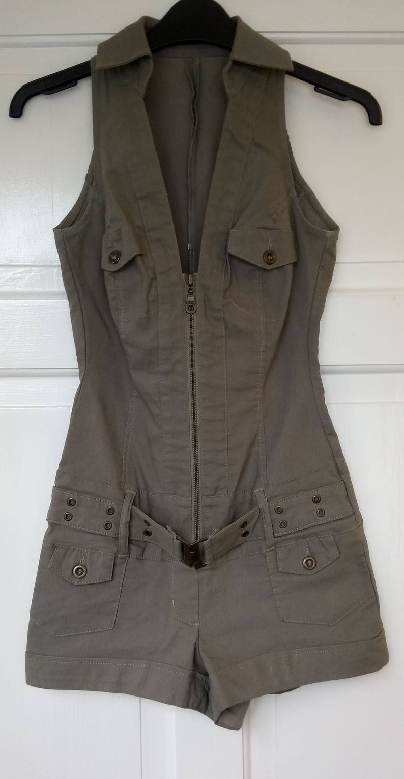 fe29d3c72fe Jane Norman Khaki Military Style Playsuit with a Zip up Front
