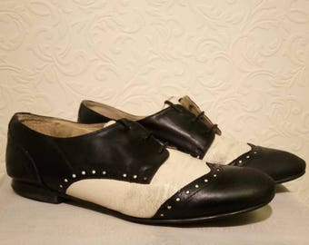 Schuh, Black and White 'Spatz' Style Brogues, UK Women's Size 5