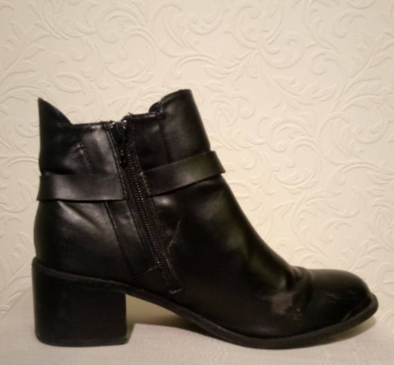 1ed1eea3f12c Red Herring Black Chelsea Boots with Zip and Buckle Detail