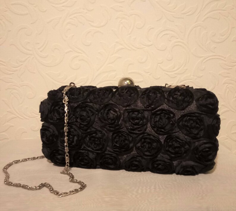 7ec3146cfdb Jane Norman Black Clutch Bag with Chain Strap and Rose | Etsy