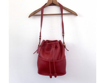 COACH 9804 Thompson Legacy Red Leather Bucket Bag