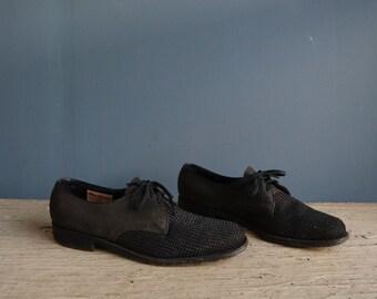 Vintage Men's Black Dress Shoe | Vintage Black Coronado Round Toe Dress Oxfords | Vintage Allen-Edmonds Black Coronado Men's Shoes