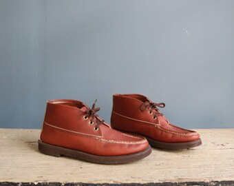 Vintage Chukka Moccasin Boot | Vintage Brown Leather Moc Toe Boot | Vintage Stafford's Moccasin Boot | Brown Moccasin Boot