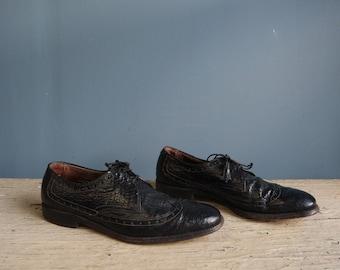 Vintage Black Leather Wing Tips | Vintage Allen Edmonds Men's Wingtip Shoes | Men's Black Leather Wing Tip Shoes