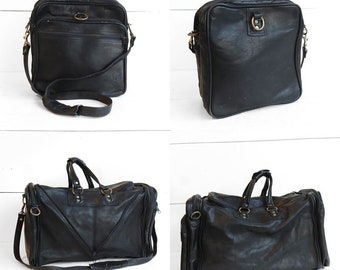 Vintage Convertible Black Leather Duffel Bag