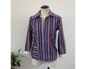 1960's Red, White, Blue Stripe Zip Jacket
