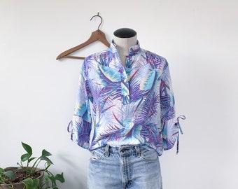 1970's Purple & Blue Tropical Print Blouse