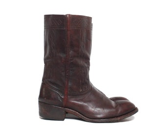 Vintage Johnston & Murphy Stovepipe Western Style Dress Boots in Brown Leather Ruidoso Collection