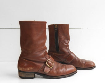 Vintage Hy-Test Motorcycle Boots in Brown Leather with Steel Toes