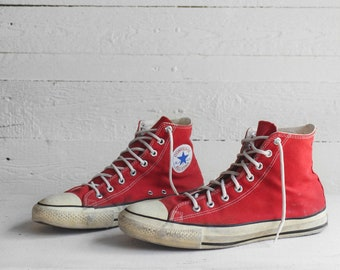 11 | Vintage Converse Hi Tops Made in USA Red Chuck Taylors