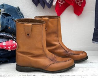 Women's Red Wing Boots Pull On Winter Moc Toe Work Boots in Tan Leather