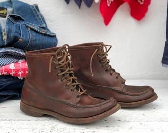 Men's Vintage Russell Moccasin Boots Short Thick Leather Ankle Boot