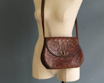 1950's Large Tooled Leather Shoulder Bag Purse