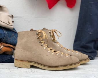 Men's Vintage Roofer Boot Tan Suede Monkey Boots Lace Up Work Boot