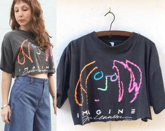 John Lennon 'Imagine' Cropped & Thrashed T shirt