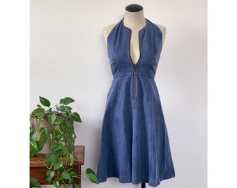 1970's Denim Halter Dress