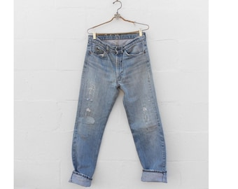 32-33 waist | Destroyed & Re-constructed Levi's 505 Orange Tab Perfectly Worn Jeans