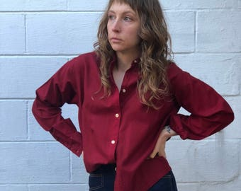 SML | Vintage Monocle Button Up Work Shirt in Red