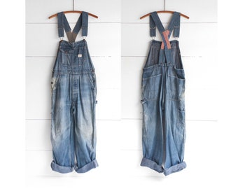 Vintage Mended BIG MAC Penny's Union Made Low Back Sanforized Denim Overalls size Small