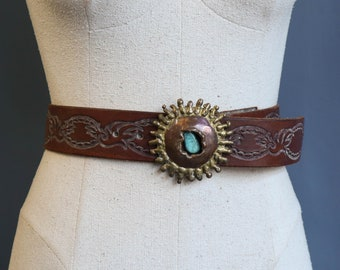 Tooled Leather Belt with Brass Buckle and Turquoise Stone