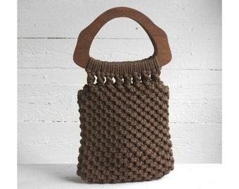 Chestnut Brown Macrame Handbag with Wooden Top Handle