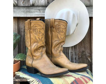 12 D   1970's Dan Post Pointed Toe Western Boots in Blonde Leather