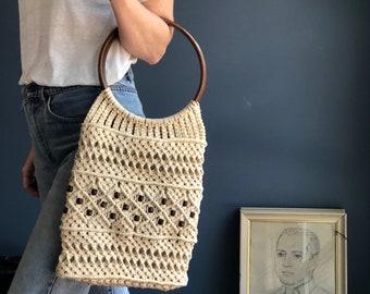 Macrame Crochet Rope Large Handbag with Oversized Wooden Hoop Handle