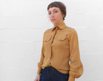 SML-MED | 1960's Mustard Yellow Blouse