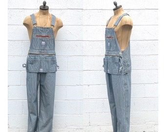 Pointer Blue & White Stripe Utility Apron Overalls