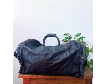 Convertible Black Leather Duffle Bag & Satchel