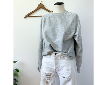 Vintage Heather Gray Raglan Soft Faded Grey Sweatshirt