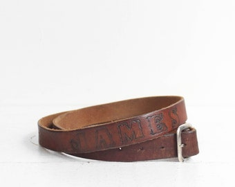 Thin Brown Leather Tooled Name Belt 'JAMES'