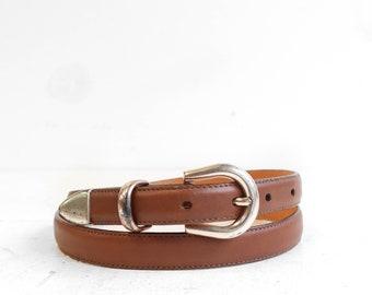 L.L. Bean Brown Leather Skinny Belt