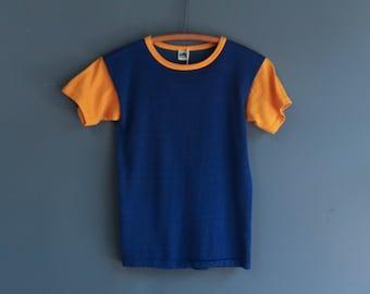 1960's Blue & Yellow Short Sleeve Athletic Shirt