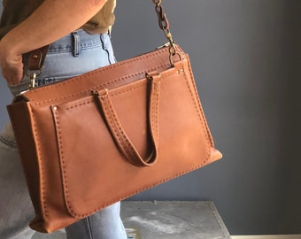 Thick Leather Messenger Bag with Crossbody Shoulder Strap
