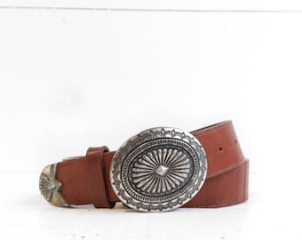 Brighton Brown Leather Concho Belt