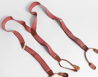 Red Houndstooth Suspenders Braces with Leather Button Straps
