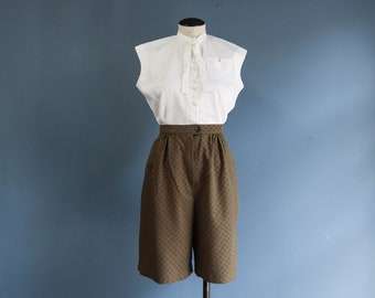 1980's Dark Green High Waist Shorts Diamond Pattern