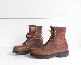 7.5 D | Vintage Red Wing Boots 1960's Steel Toe Lace Up Work Boots