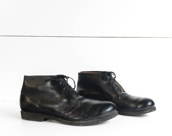 1960's Vintage Penn Garment Co. Postal Shoes Black Leather Chukka Work Boots