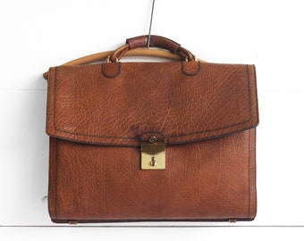 Vintage Caracciola Leather Attache  Laptop Work Bag in Brown