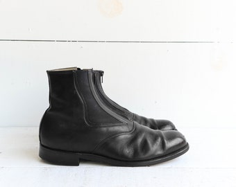 A.M. Kroop & Sons Jodphur Riding Boots Black Leather Zip Front Ankle Boots