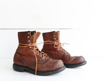 Vintage Red Wing Boots Lace Up Work Boots